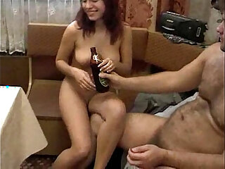 Drunk Russian housewife gets gang-banged