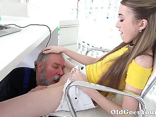 Old Goes Young Lovely Vlada splits open her long legs