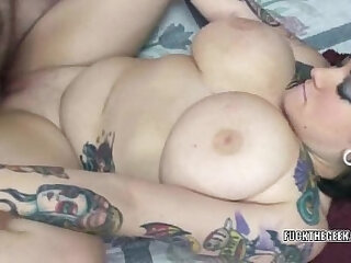 Tattooed coed Christine getting her pussy fucked