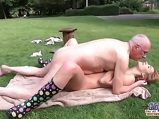 Young Old Porn Teen Giving Blowjob and fucked by grandpa outside