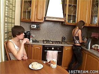 Kinky wild kitchen sex