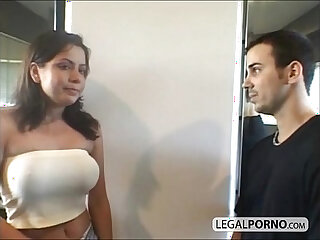 Two sexy chicks with big tits fucked by two guys in a gym HC
