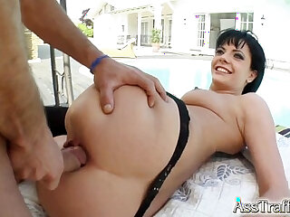 Ass Traffic babe swallows after anal