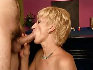 Hot granny fucked on a pool table