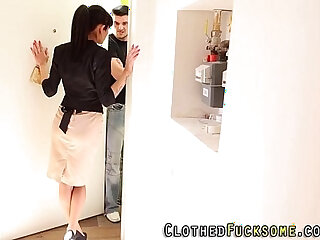 Clothed glam babe spunked