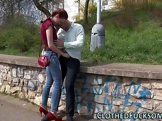 Clothed slut jizzy