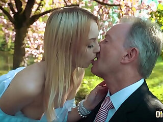 Young blonde fucking an old man she swallows his cumshot