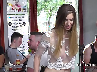 Busty slave walked with tail butt plug