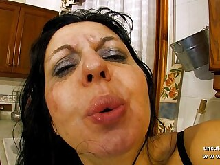 Horny milf sodomized and double plugged with vegetables in the kitchen