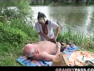 Grandpa Invites Busty milf and Teen Blowjob
