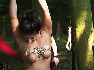 Bondage BDSM Teen punished and fucked outdoors