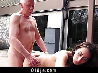 Naughty Grandpa Fucks My Teen Step sister Licks her Pussy She Swallows Cum