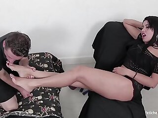 Sucking and licking feet! Amazing foot domination! This is hot foot worship!