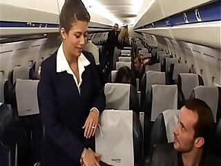 Charming brunette air hostess Alyson Ray proposed passenger to poke her juicy ass after scheduled flight