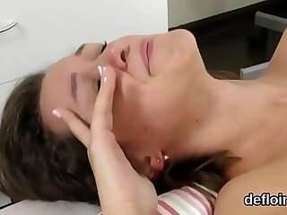 Lovable cutie gapes tight snatch and gets deflorated