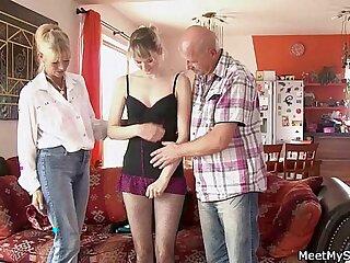 Perverted parents seduces their GF