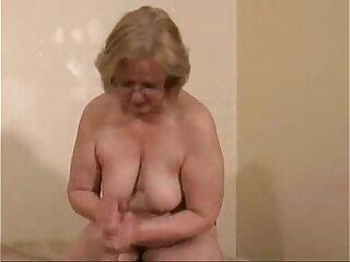 Gorgeous mature slut jerking cock. Amateur older