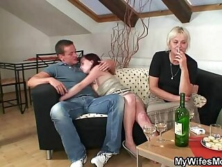 Hot orgy session with granny and son in law