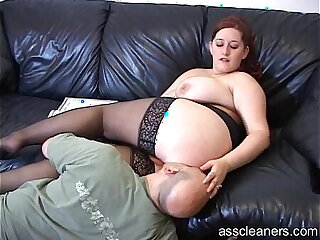 Big titted mistress lets man lick pussy before her ass hole
