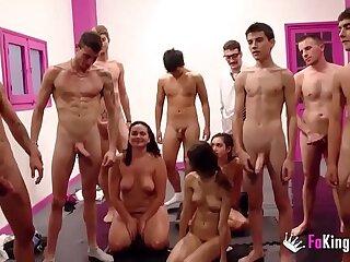 Jordi and all of his friends FAKings school make cum rain on Ainara and friends!