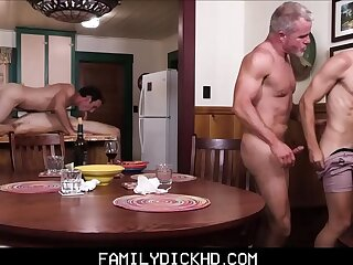 Step Dad And Grandpa Group Sex With Two Twink Step During Family Bonding Time