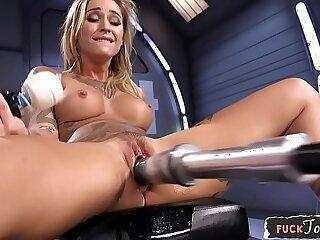 Amazing milf dildo stuffed by sex machine