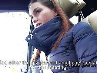 Busty asian teen flash tits and grab cock in car to stranger