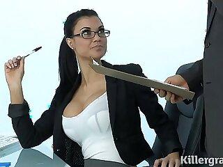 Sexy busty Milf Jasmine Jae plays the office slut addicted to hard long mamba cock