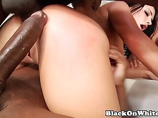 BBC hungry model DPed in interracial nasty gangbang