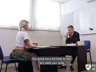 PORNO ACADEMIE Hot school girl Lara Sins gives footjob and gets fucked deep
