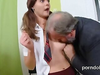 Pretty college girl gets teased and pounded by her older teacher