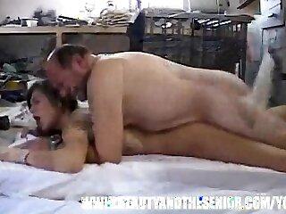 Fat old bastard fucks a hot young chick