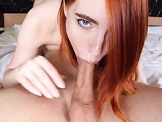 Deep blowjob and throbbing sperm for Redhead MOLLYREDWOLF